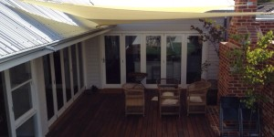 shade sail over decking